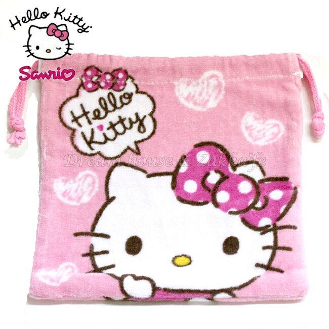 日本限定 Hello Kitty 粉紅色 毛巾布 束口袋/小物袋 《 當化妝包/雜物包/裝衛生棉/寶貝外出奶嘴零食 都適合喔 》 ★ Zakka'fe ★