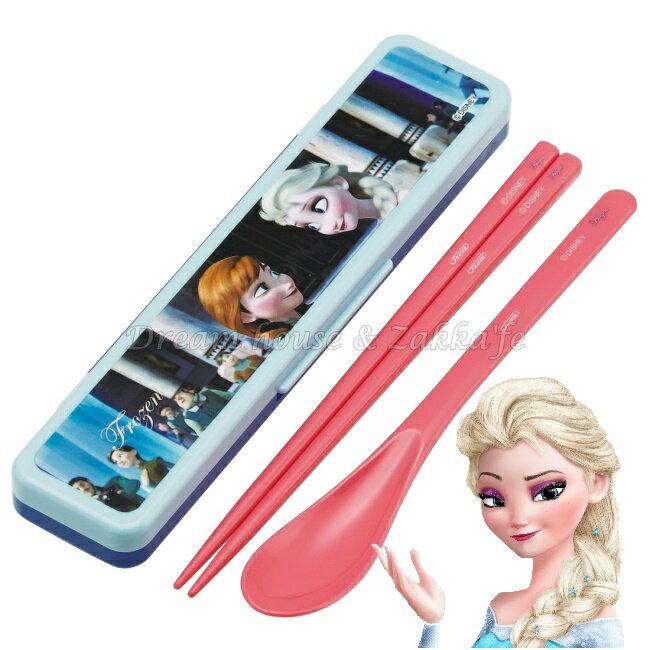 日本 Disney 冰雪奇緣 FROZEN 安娜/艾莎 Anna Elsa 環保餐具組 《 筷子/湯匙 一組 附收納盒 》 ★ 日本製 ★ Zakka\