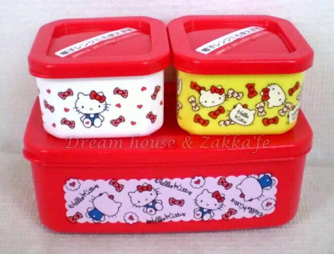 日本進口 sanrio 三麗鷗 Hello Kitty 凱蒂貓 保鮮盒 / 便當盒 《 一大兩小 / 一組 》★ 日本製 ★ Zakka'fe - 限時優惠好康折扣