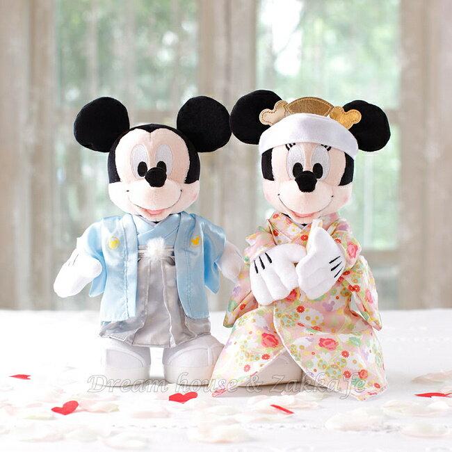 日本正版 Disney 迪士尼 米奇 / 米妮 / 米老鼠 日式和服款 婚禮玩偶 / 絨毛娃娃 《 婚禮小物 / 結婚禮物 都適合喔 》 ★ Zakka'fe ★ - 限時優惠好康折扣