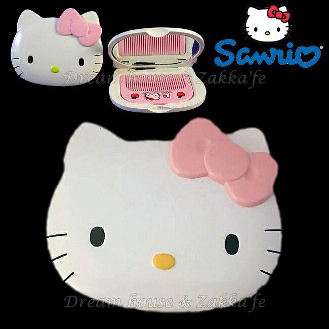 日本進口 正版 sanrio 三麗鷗 Hello Kitty 凱蒂貓 梳子/鏡子組 《 粉紅蝴蝶結 》★ 日本製 ★ Zakka'fe