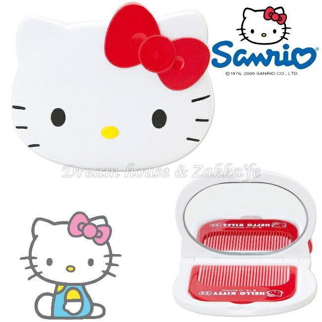日本進口 正版 sanrio 三麗鷗 Hello Kitty 凱蒂貓 梳子/鏡子組 《 紅色蝴蝶結 》★ Zakka'fe ★