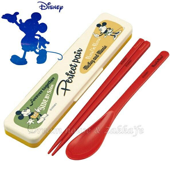 日本進口 DISNEY 迪士尼 米奇/米妮/米老鼠 環保筷子湯匙組/環保餐具組 《 筷子/湯匙組 附收納盒》 ★ 日本製 ★ Zakka\