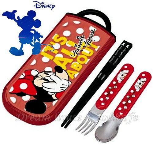 日本進口 迪士尼 Disney 米妮 環保餐具組 《筷子 / 湯匙 / 叉子一組》 ★ 日本製 ★ Zakka'fe - 限時優惠好康折扣