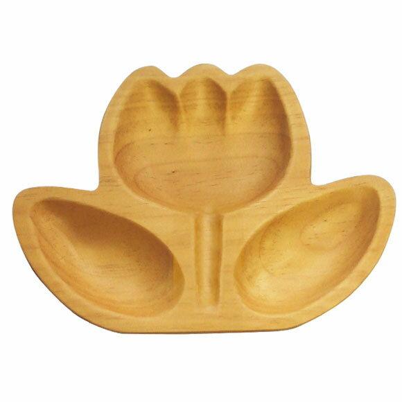 日本 petits et maman 手工兒童木頭餐盤 花朵 《大》★安全可愛喔★