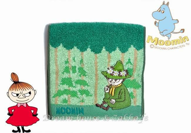 日本MOOMIN 嚕嚕米 阿金 毛巾小物袋/毛巾布折袋 《 森林綠 》★ 收納私密小物/暖暖包/保冷袋 多用途喔 ★