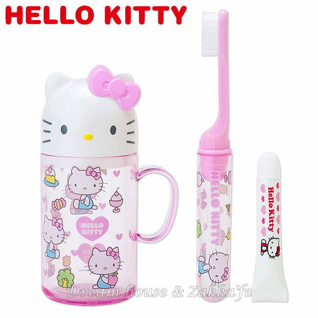 日本 sanrio 三麗鷗 Hello Kitty 粉紅盥洗組/牙刷/牙膏/漱口杯/旅行組 組合 《 凱蒂貓造型蓋子 》 ★ 日本製 ★