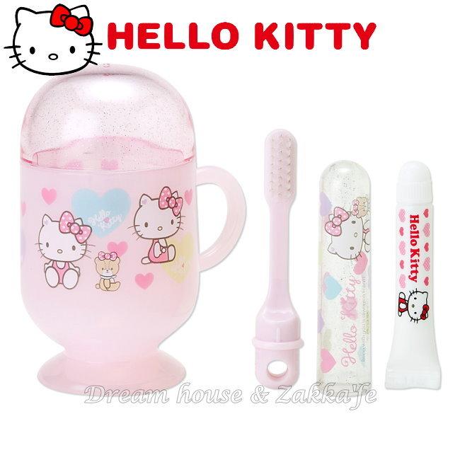 日本 sanrio 三麗鷗 Hello Kitty 粉紅愛心盥洗組/牙刷/牙膏/漱口杯/旅行組 組合 《 凱蒂貓 》 ★ 日本製 ★