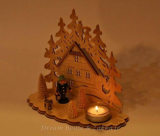 Zakka 鄉村風手工木製旅館剪影造景燭台 ★ 德國 Erzgebirge ★ 質感超好 細緻漂亮 - 限時優惠好康折扣