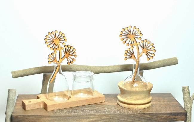 薰香瓶組 可當小花瓶 ~ 原木底座 2款玻璃薰香瓶 ~ ~ 細緻 漂亮~