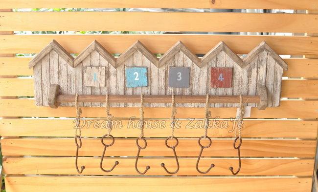 Zakka 鄉村風仿舊復古木製 屋子造型掛勾 《 6勾 》★ 仿舊感十足 ★ Zakka'fe - 限時優惠好康折扣