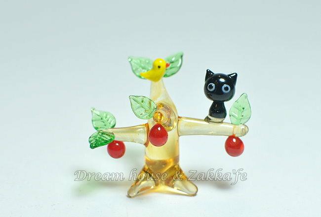 日本硝子 玻璃工藝 黑貓與果樹 擺飾 《和風小物》★ 日本製 ★ Zakka'fe ★ - 限時優惠好康折扣
