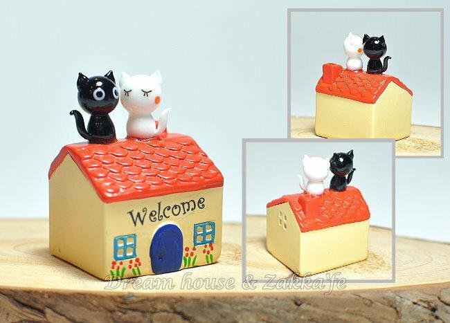 日本硝子 玻璃工藝 屋頂貓咪情侶 擺飾 《和風小物》★ 日本製 ★ Zakka'fe ★ - 限時優惠好康折扣