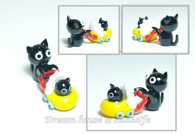 日本硝子 玻璃工藝 貓咪娃娃車散步 擺飾 《和風小物》★ 日本製 ★ Zakka'fe ★