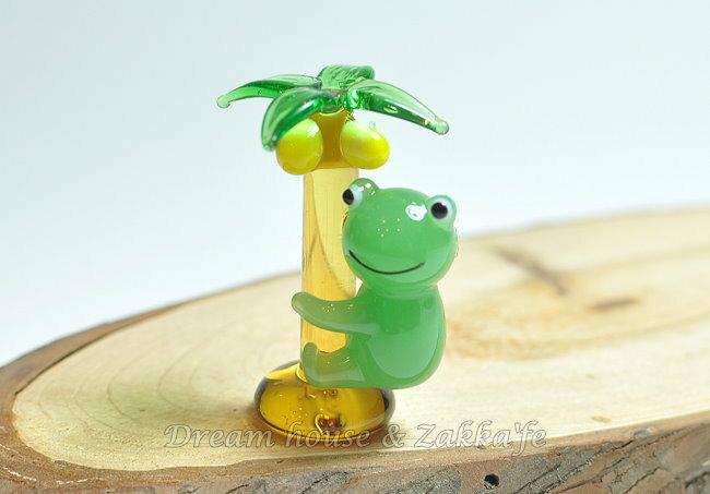 日本硝子 玻璃工藝 青蛙椰子樹 擺飾 《和風小物》★ 日本製 ★ Zakka'fe ★ - 限時優惠好康折扣