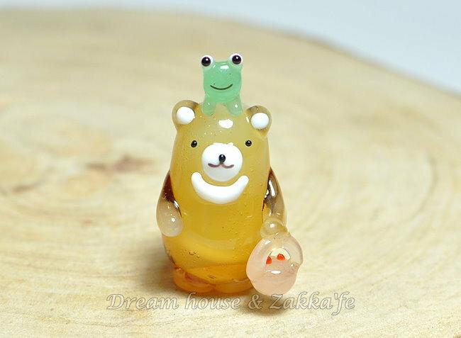日本硝子 玻璃工藝 小熊與青蛙好朋友 擺飾 《和風小物》★ 日本製 ★ Zakka'fe ★ - 限時優惠好康折扣