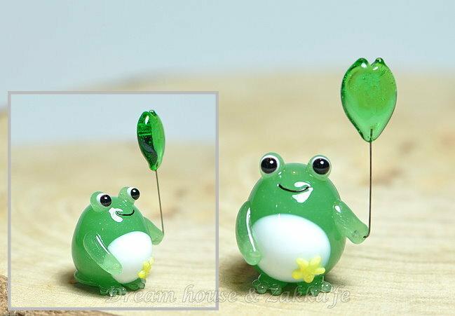 日本硝子 玻璃工藝 小青蛙與荷葉氣球 擺飾 《和風小物》★ 日本製 ★ Zakka\