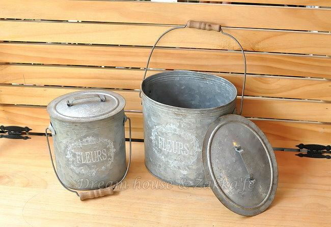 Zakka 鄉村風 仿舊馬口鐵鐵桶 置物桶 收納筒 ~   ~~一大一小 組~ Zakka