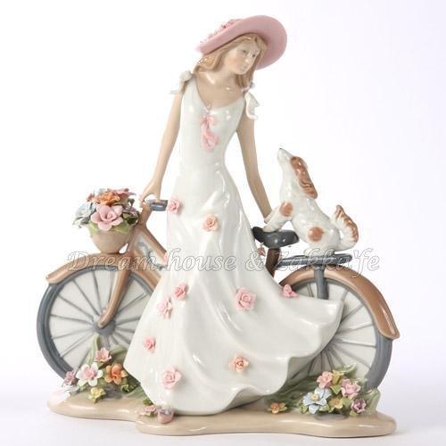 Cosmos Gifts 單車女孩與狗 擺飾 《 質感超細緻 》★ 陶瓷精品 ★ Zakka'fe