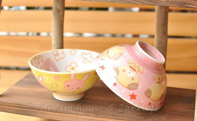 日本製 陶瓷茶碗 / 兒童碗 / 飯碗 / 碗 粉紅 《 粉紅小狗 / 黃色小兔 2款任選 》 《 日本進口 》★ Zakka'fe ★ - 限時優惠好康折扣