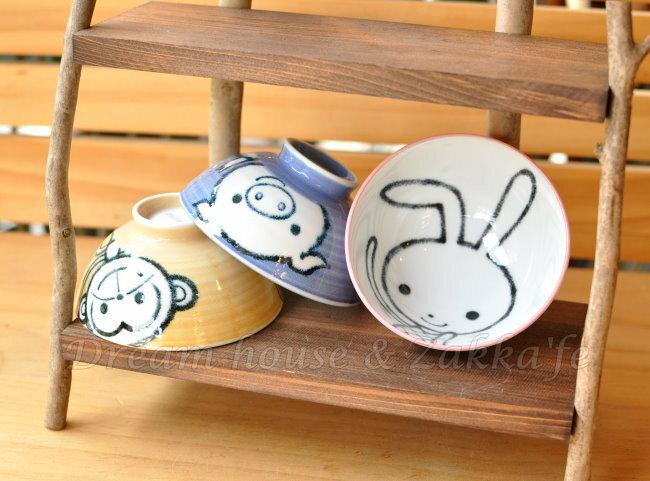 日本製 schen 陶瓷茶碗 / 兒童碗 / 飯碗 / 碗 《 粉色小兔 / 紫色小豬 / 黃色猴子 3款任選 》 《 日本進口 》★ Zakka'fe ★ - 限時優惠好康折扣