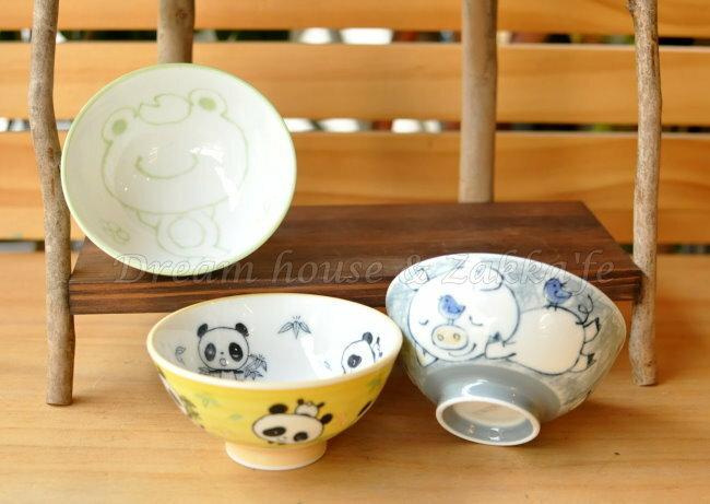 日本製 schen 陶瓷茶碗 / 兒童碗 / 飯碗 / 碗 《 綠色青蛙 / 灰色小豬 / 黃色貓熊 3款任選 》 《 日本進口 》★ Zakka'fe ★ - 限時優惠好康折扣