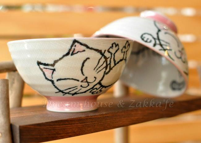 日本製 陶瓷茶碗 / 兒童碗 / 飯碗 / 碗 灰格粉色貓咪 《 日本進口 》★ Zakka'fe ★ - 限時優惠好康折扣