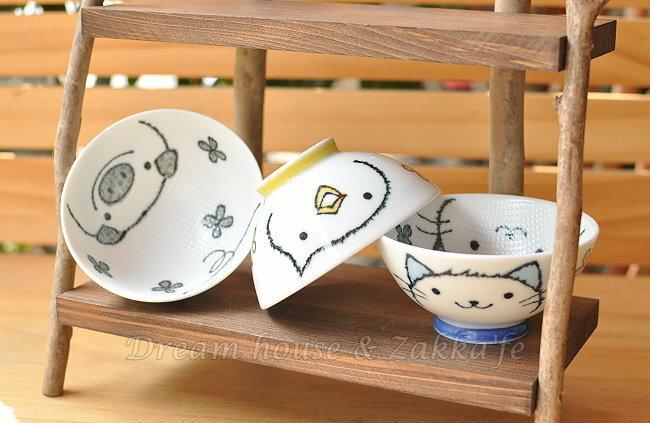 日本製 Lisse 不沾黏 陶瓷茶碗 / 兒童碗 / 飯碗 / 碗 《 小豬 / 小雞 / 小貓 3款任選 》 《 日本進口 》★ Zakka'fe ★ - 限時優惠好康折扣