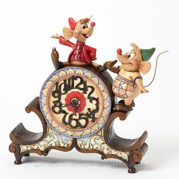 美國ENESCO精品JimShore愛木小灣傑克與古斯鼠時鐘桌鐘★超可愛★Disney迪士尼★Zakka'fe