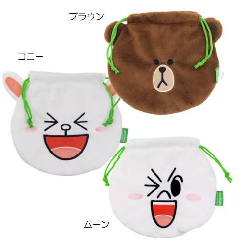 日本正版 LINE娃娃束口袋/小物袋/收納袋 《 熊大/饅頭人/兔兔 3款任選 》★ 超可愛 ★