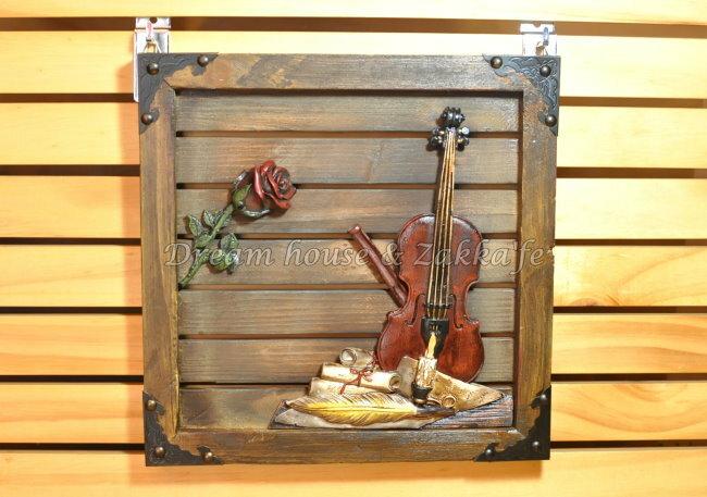 復古仿舊 鄉村風 原木製 掛畫 《 提琴玫瑰 》★ 質感很棒 ★ Zakka'fe ★ - 限時優惠好康折扣
