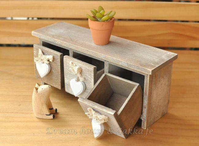 Zakka 鄉村風 木製仿舊復古三抽桌上櫃/收納櫃/小物櫃《 手作愛心 》★很漂亮喔★ Zakka'fe