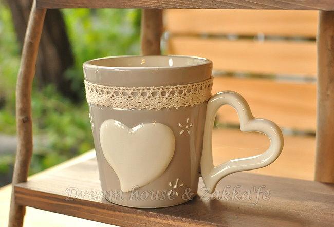 可愛心心相印蕾絲陶瓷馬克杯/水杯/牛奶杯 ★很可愛喔★ Zakka'fe