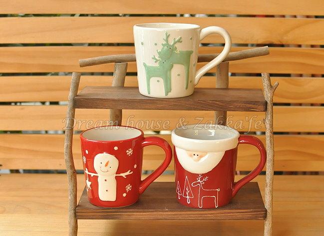 可愛聖誕/耶誕 陶瓷馬克杯/水杯/牛奶杯 《 聖誕老人/麋鹿/雪人 3款任選 》 ★很可愛喔★  Zakka'fe
