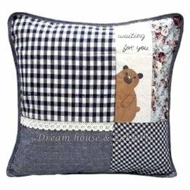 超可愛日式和風拼布抱枕套 藍色格子小熊《 45cmX45cm 》 ★超有質感喔★ Zakka\