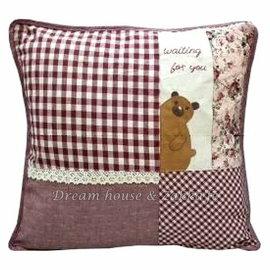 超可愛日式和風拼布抱枕套 紅色格子小熊《 45cmX45cm 》 ★超有質感喔★ Zakka'fe