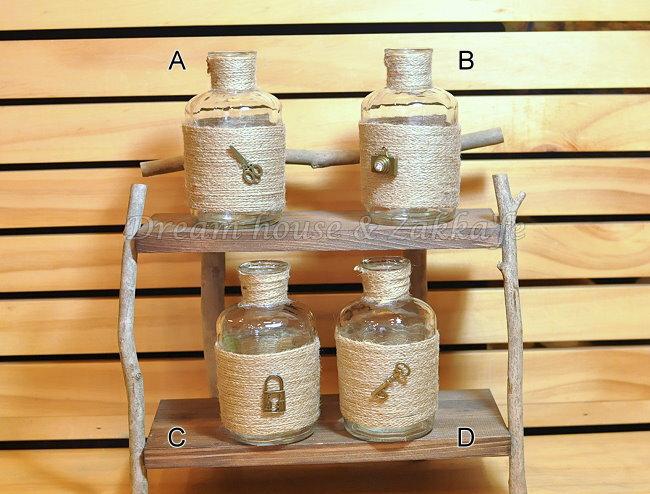 鄉村風Zakka 復古仿舊 麻繩玻璃 小花瓶 花器 置物瓶 ~ 4款 ~ ~復古漂亮又 ~