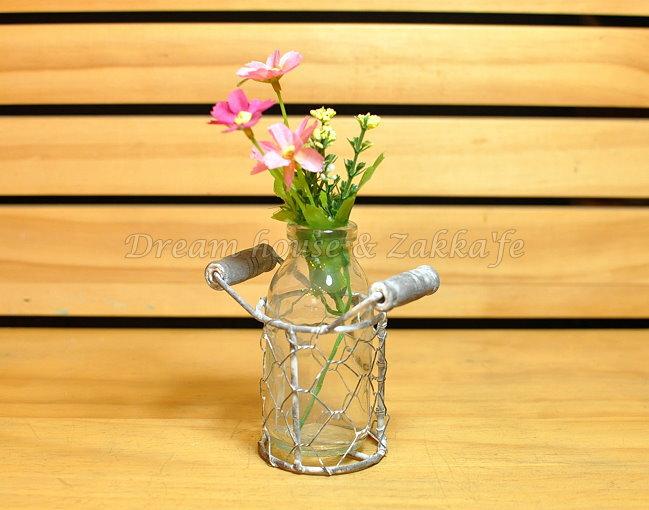 鄉村風Zakka 復古仿舊 鐵藝玻璃 小花瓶/花器/置物瓶 單瓶組 《 復古漂亮又實用 》 ★ Zakka'fe ★