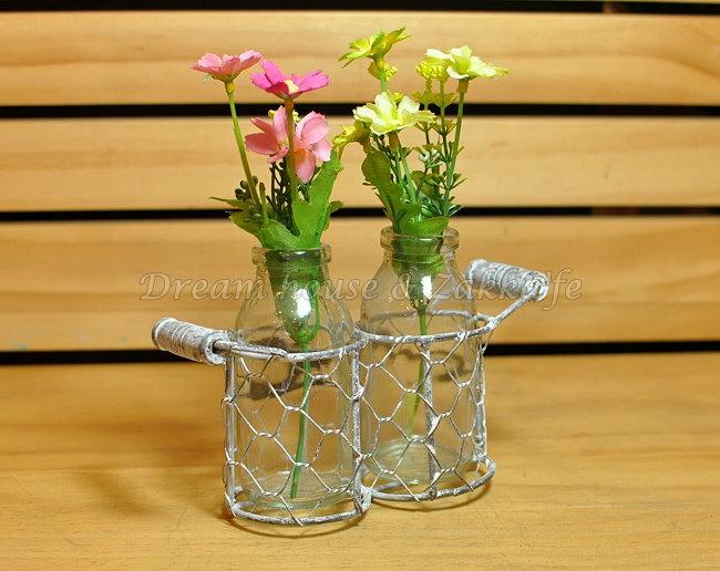 鄉村風Zakka 復古仿舊 鐵藝玻璃 小花瓶/花器/置物瓶 雙瓶組 《 復古漂亮又實用 》 ★ Zakka'fe ★