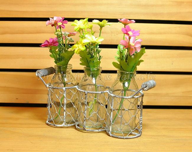 鄉村風Zakka 復古仿舊 鐵藝玻璃 小花瓶/花器/置物瓶 三瓶組 《 復古漂亮又實用 》 ★ Zakka'fe ★
