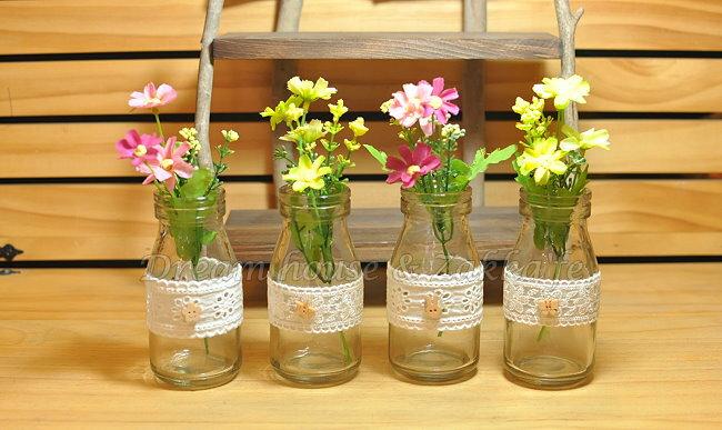 鄉村風Zakka 復古仿舊 蕾絲牛奶瓶玻璃 小花瓶 / 花器 / 置物瓶 《 4款任選 》 ★復古漂亮又實用★ Zakka'fe ★ 2