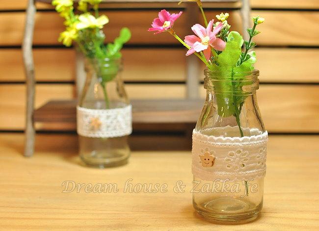 鄉村風Zakka 復古仿舊 蕾絲牛奶瓶玻璃 小花瓶/花器/置物瓶 《 4款任選 》 ★復古漂亮又實用★ Zakka'fe ★