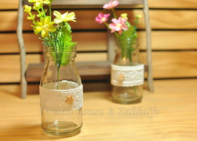 鄉村風Zakka 復古仿舊 蕾絲牛奶瓶玻璃 小花瓶 / 花器 / 置物瓶 《 4款任選 》 ★復古漂亮又實用★ Zakka'fe ★ 1