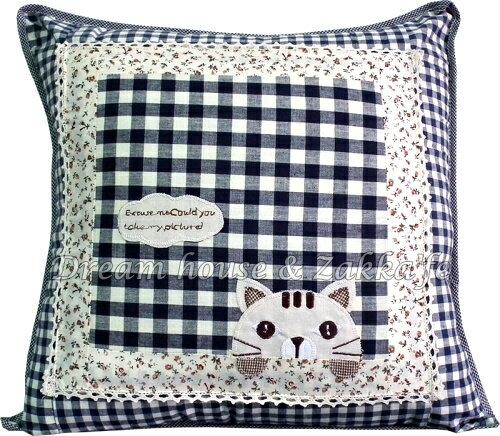 超可愛日式和風拼布抱枕套 藍色格子白雲貓咪《 45cmX45cm 》 ★超有質感喔★ Zakka'fe