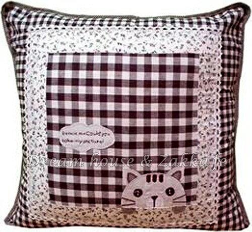 超可愛日式和風拼布抱枕套 咖啡色格子白雲貓咪《 45cmX45cm 》 ★超有質感喔★ Zakka\