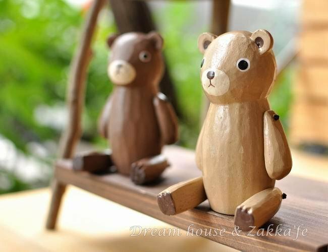 日本 T-Lab 手工原木製 森林動物 L 《 小熊 / 貓咪 4款任選 》★ Zakka鄉村風 ★ 手腳可動喔 - 限時優惠好康折扣