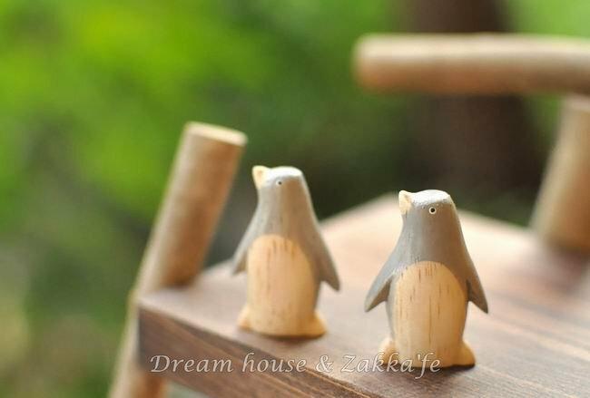 日本 T-Lab 手工原木製 小企鵝《 迷你可愛 》★ Zakka鄉村風 ★ - 限時優惠好康折扣