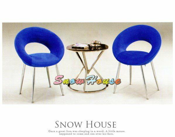 ╭~雪之屋居家 館~╯AA331~02 甜心電鍍椅 藍絨布  單張   餐椅  椅  會客