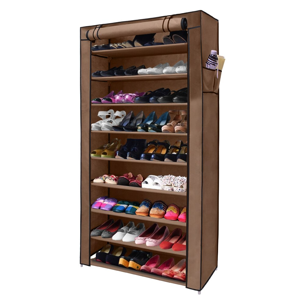 Diy Shoe Rack 9 Tier Shoe Organizer Cabinet Dust Proof With Water Proof Non Woven Cover Large 36 Pairs Small 27 Pairs Nex