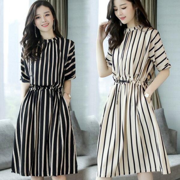 糖衣子輕鬆購【GH3070】韓版時尚氣質清新條紋鬆緊腰連身裙
